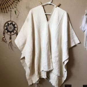 Mira Blackman mudcloth natural white poncho